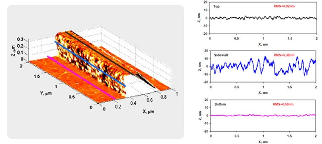 3D AFM image provide high resolution profiles for bottom, sidewall and top of the photoresist line, which can be used for LER/sidewall roughness analysis of the structure
