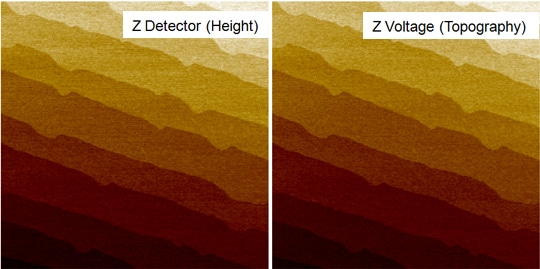 The topography images of a sapphire wafer obtained from nx10