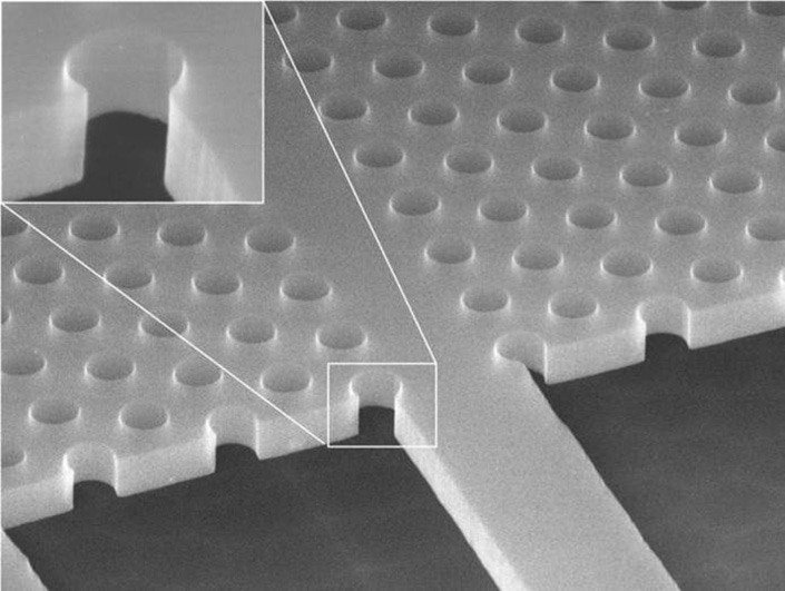 Advanced EBL: Photonic crystal structure in membrane (underetched)