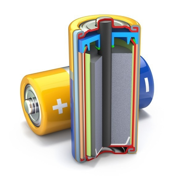 A cross sectional view of a traditional battery