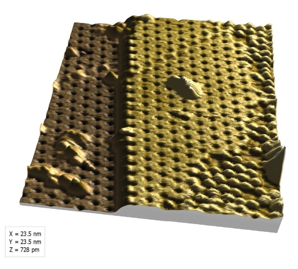 """3D view of the silicene surface generated in MountainsMap® showing an atomic step and typical """"honeycomb"""" structure."""