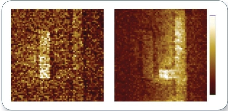 Experimentally measured AFM cantilever deflection amplitudes. The cantilever deflection is directly proportional to temperature increase in the sample during the laser pulse; this confirms that the magnitude and spatial distribution of the Ohmic heating of a chiral 2D metasurface markedly depends on the handedness of light.3