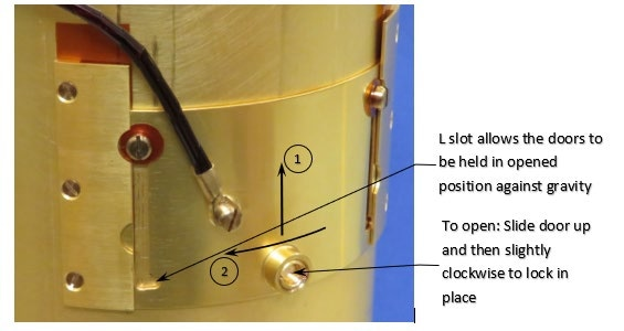 Sliding sample access shutter