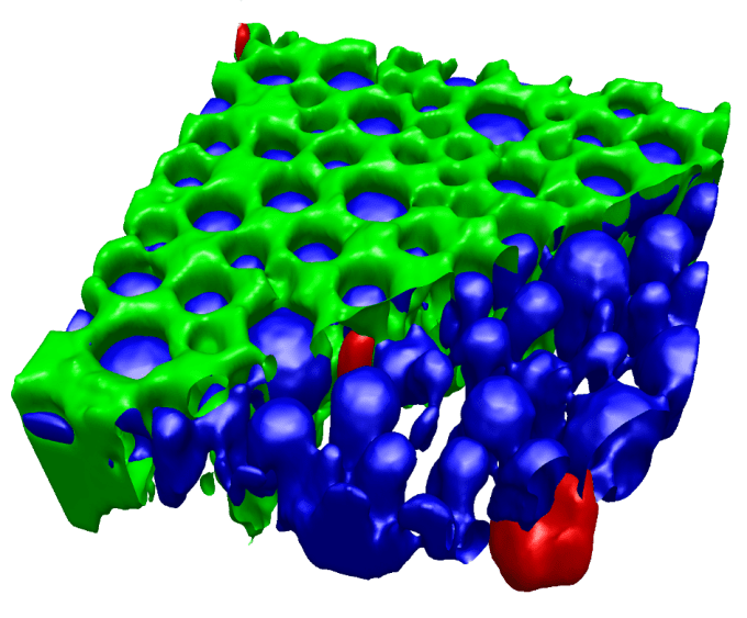 Confocal 3D Raman volume image of a pharmaceutical emulsion: The oil phase (green) is partially removed in the image for better visibility of the silicon impurities (red) in the water and API containing phase (blue).