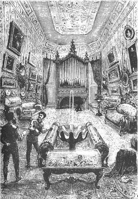 Original illustration of the interior of the Nautilus.