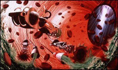 Nanobot swimming through human vein.