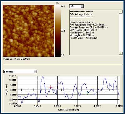 TriboView roughness analysis and section profile of II-01b an in-situ SPM image of a