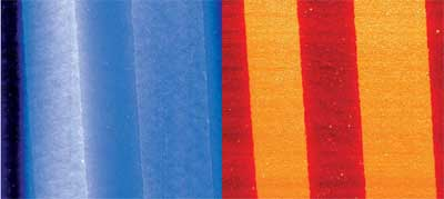 Topography (left) and phase image (right) of a cryo-microtomed multilayer polyethylene sample. While topography is dominated by large-scale undulations, phase provides a clean view of the layered structure. Additional fi ne structure shows the presence of small droplets. Image size 35ìm. Closed loop active.