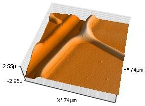 AFM scan of a typical LCD panel area. High-resolution topographic data is available for a limited scan area. The scan here corresponds to 74 µm x 74 µm, and to the white box shown in Figure 1.