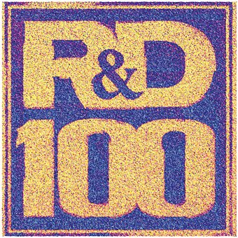R&D 100 logo written on a sol-gel PZT thin film by PFM lithography. PFM phase is overlaid on top of the rendered topography, 25µm scan.