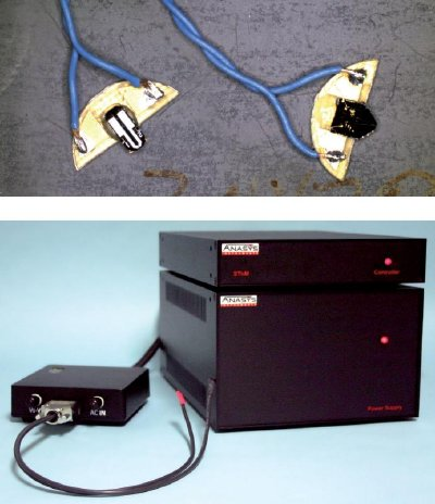 Anasys components required for SThM measurement with the FlexAFM scan head. (Top) Anasys thermal probes. (Bottom) Anasys SThM electronics comprising the power supply, controller, and CAL box.
