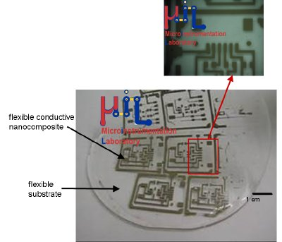 Flexible conductive nanocomposite polymer embedded in an insulating flexible polymer circuit board for microfluidic component.