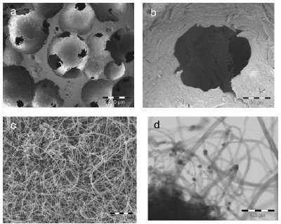 Hierarchical porous carbon created by attaching nanotubes on microcellular foam. Images at various magnifications: (a) 50X (b) 500X (c) 20,000 X and (d) 150,000 X.