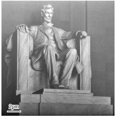 A FIB grayscale rendering of the Lincoln Memorial, patterned into silicon. An unmodified photograph was used as the data source. The total patterning time was approximately ten minutes.