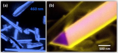 (a) Cathodoluminescence (CL) image showing blue light emission from GaN/InGaN core-shell nanowires; (b) CL image showing defect-related yellow luminescence from the surface region of a GaN nanowire.