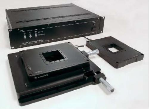 Background: The piezo controller is included and comes with a 24-bit resolution USB port as well as ethernet, RS-232 and an analog interface. Foreground: The optional M-545 manual XY stage provides a stable platform for the the PInano™ piezo stage. R2 piezo stage versions (60x60 mm aperture) shown.
