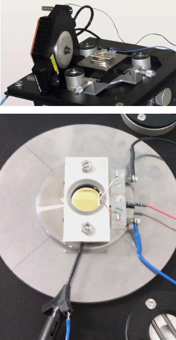 Experimental Setup. (Top) Overview showing the electrochemical cell on a FlexAFM Sample Stage equipped with Environmental Control Chamber, Micrometer Translation Stage and isoStage. The FlexAFm scan head is shown lying on its side, equipped with a Cantilever Holder SA for measurements in liquid. (Bottom) Close-up of the electrochemical cell and the wiring used to connect the electrodes and gold surface.