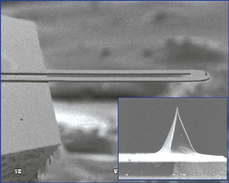 An SEM image of the microfabricated thermal probe used for nTA measurements. The inset is a zoom of the tip, which makes contact with the sample surface.