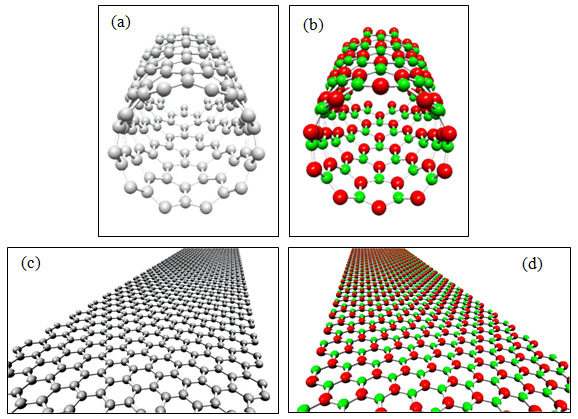 Zigzag (10, 0) (a) CNT and (b) BNNT and Zigzag GNR and BN Nanoribbon. Grey, red, and green spheres represent carbon, boron, and nitrogen atoms, respectively.