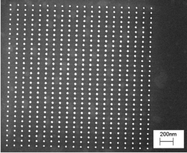 Electron Beam produced pillar array exposed at 24.88 fC per pillar.