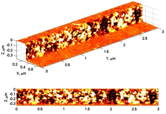 3D AFM image of the sidewall of a photoresist line.
