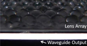 Microlenses couple the light into a waveguide, which allows superior form factor and reduced costs.