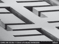 SEM Image of 200 µm hot embossed micro fluidic channels. Source: IMI-CNRC