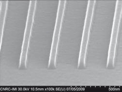 SEM Image of 50 nm hot embossed liness utilizing polymeric stamps. Source: EVG.
