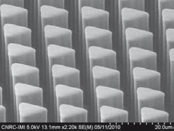 Super dense, high aspect ratio (30 µm tall; 9 µm wide) separation columns embossed on the EVG750 with working stamps. Source: IMI-CNRC