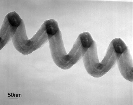 A single coiled carbon nanotube.