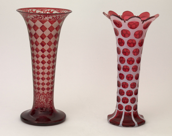 Examples of vases containing ruby glass, made in the 19th century. Ruby glass has been manufactured for centuries, although it was only recently that the pigment used was found to contain gold nanoparticles.