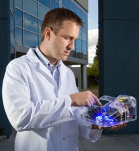 The RapiDx lab-on-a-chip system from Sandia National Laboratories can analyze microlitre samples of blood or saliva for protein signatures for biotoxins at the point-of-care.
