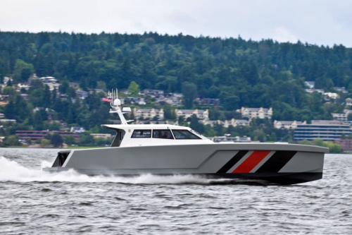 The LRV-17 long-range unmanned vessel from Zyvex Marine, built using carbon fiber nano-composites.