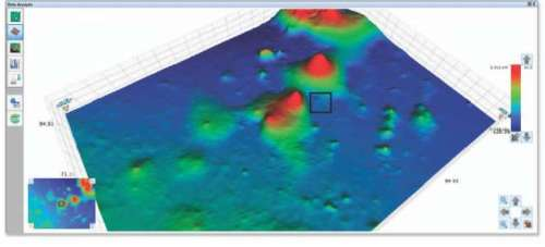 3D representation from 50x objective inspection on CD ROM surface. The black square represents area of interest for extended NanoLens AFM inspection.