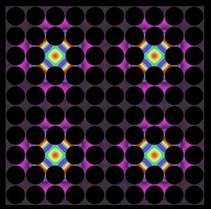 """Thermal lattices, shown here, are one possible application of the newly developed thermocrystals. In these structures, where precisely spaced air gaps (dark circles) control the flow of heat, thermal energy can be """"pinned"""" in place by defects introduced into the structure (colored areas)."""