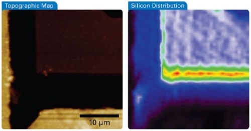 Simultaneous AFM-Raman acquisition sequence with (left) AFM sample topography, and (right) Raman map. The Raman image was created by plotting the intensity of the main silicon band at 520 cm-1. The areas in red, yellow and green depict the areas of exposed silicon. Image size 30 µm.