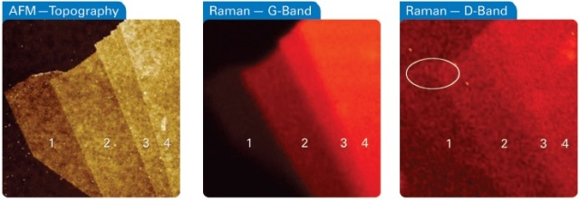 AFM topography (left) and Raman images of the G (middle) and D-band (right) of a graphene flake on silicon. Both Raman and AFM data confirm the layered structure with 300pm step height separating layers. The Raman image of the D-band also suggests an increased density of defects along the edge of the single layer (see circle). Image width is 15 µm.
