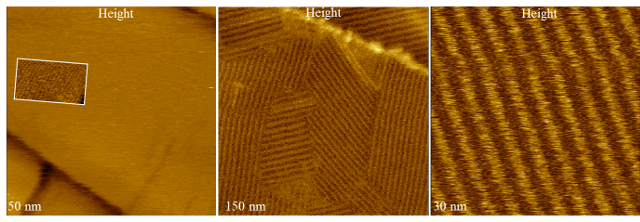Height images obtained in Hybrid Mode of alkane layers of different chain lengths demonstrate the high-resolution capability of this technique enabling the ability to resolve the packing of individual chains (inset image) in the image of C390H782 lamellae.  Sample of C390H782 alkane – courtesy of Prof. G. Ungar (Sheffield University).