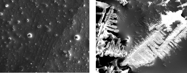 Left: SEM image of magnetic nanoparticles (light) under a coating (dark). Right: The same magnetic nanoparticles which have been organized into a pattern using a magnetic field.
