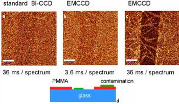 a-c: Confocal Raman images of a 7.1 nm thin PMMA layer on glass obtained in the CH2 stretching band around 3000 / cm. Scale bar: 10 µm. Fig. 1d: Schematic of the sample 30 x 50 µm, 100 x 80 pixel = 8000 spectra, 110 ms/spectrum.