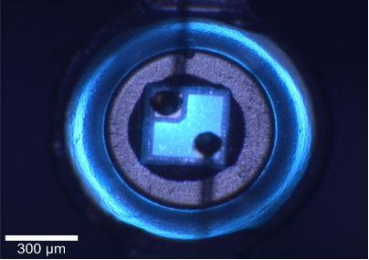 Video image of blue InGaN LED.