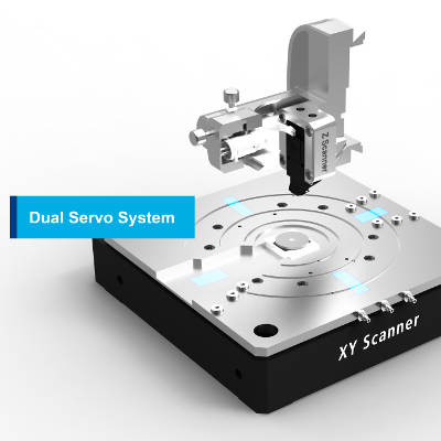 Dual Servo System is a two symmetric, low-noise position sensors are incorporated on each axis of the XY scanner to retain high scan orthogonality for the largest scan ranges and sample sizes.