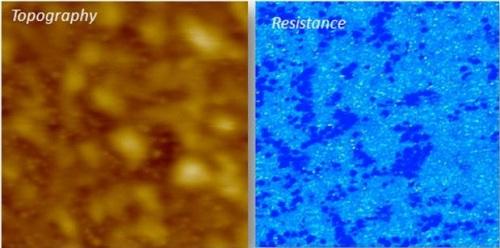 Soft ResiScope, Intermittent Mode, Organic solar cell sample (P3HT), 3µm