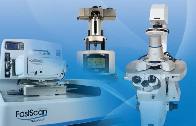 Schematic of Dimension FastScan Bio AFM (left), MultiMode 8 AFM (middle),BioScope Resolve AFM (right).
