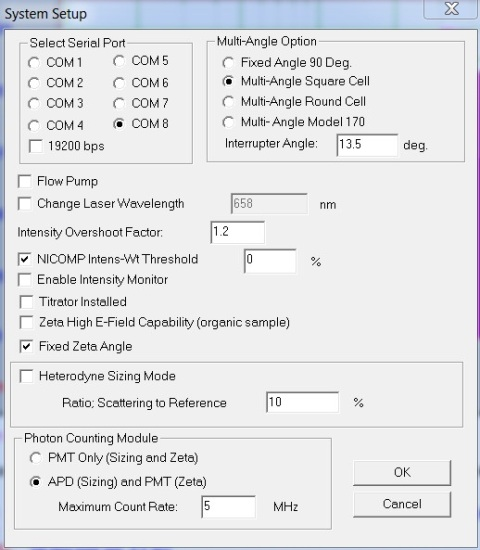 System Setup settings
