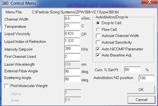 Control menu settings