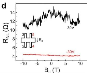 Non-local resistance as a function of in-plane magnetic field for two gate voltages.