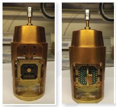 The front and back view of the chip holder attached to the rotating probes