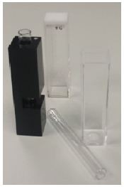 Clockwise starting at the top; 10 mm glass cell, 10 mm disposable plastic cell, round glass cell, round glass cell inside metal cell holder.