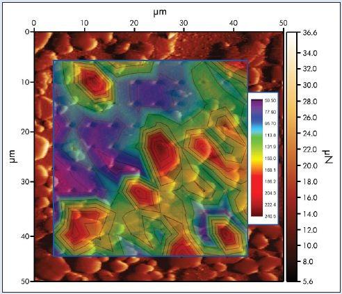 Cu-W alloy modulus map overlaid on an in-situ SPM image.